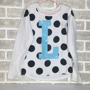 JUSTICE WHITE WITH BLACK POLKA DOT LONG SLEEVE